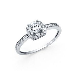 14k White Gold Engagement Ring Solitaire Round Cut